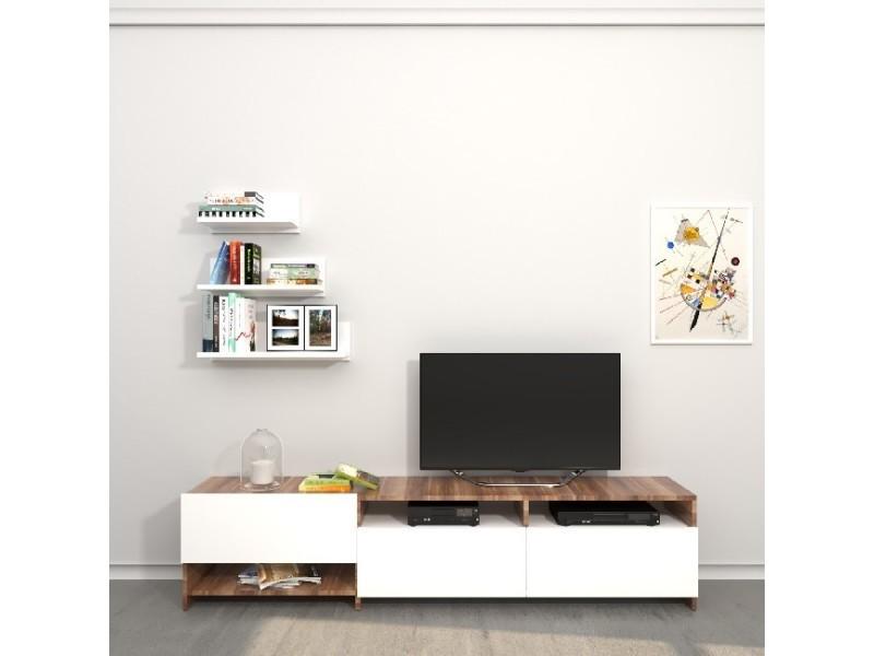 homemania meuble tv campbell avec des etageres des tablettes des portes du salon blanc bois en bois 180 x 28 4 x 40 cm