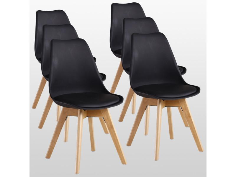 lot de 6 chaises scandinaves noires lorenzo assise rembourree salle a manger cuisine ou bureau