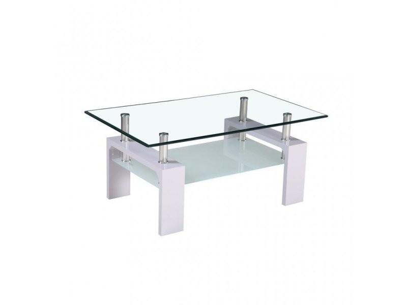 table basse en verre avec pieds gris