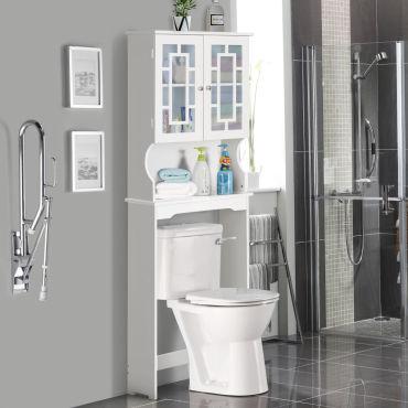 Giantex Meuble Dessus Toilette Wc Meuble De Salle De Bain Avec 2 Portes Etagere De Salle De Bain Armoire De Toilettes Wc Blanche Vente De Armoire Colonne Etagere Conforama