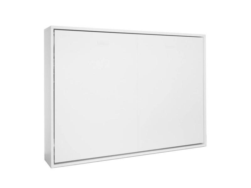 armoire lit horizontale escamotable strada v2 blanc mat couchage 140 200cm