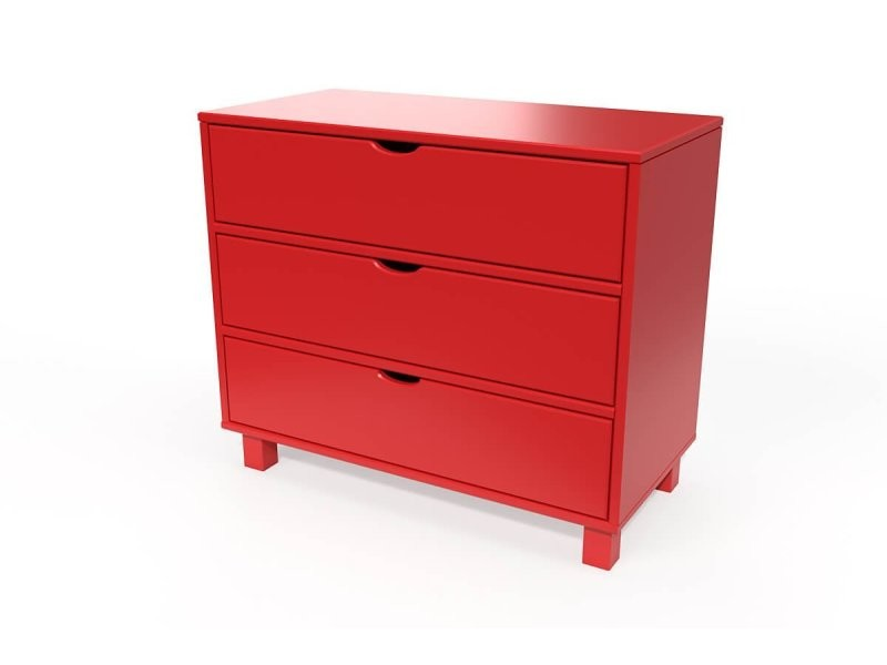 commode cube 3 tiroirs rouge