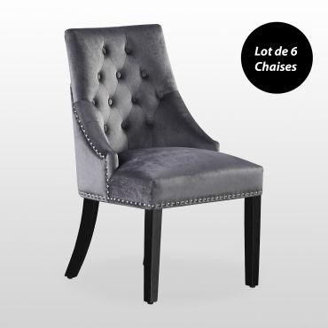 6 chaises capitonnees en velours gris