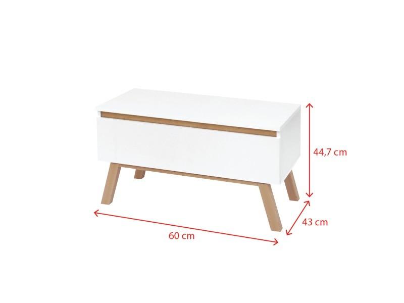 meuble tv thorita 60 cm blanc mat pieds en bois de hetre un tiroir pratique
