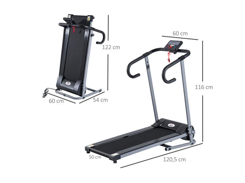 tapis de course fitness electrique pliable 1 a 10 km h ecran lcd multifonctions puissance 500 w gris fonce noir