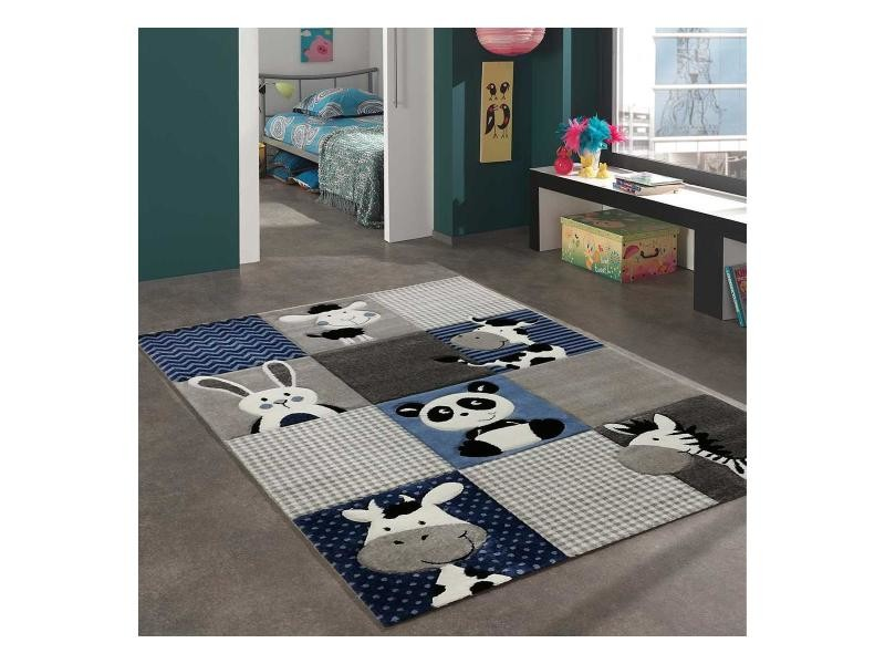 tapis enfant 120x170 cm rectangulaire zoo bleu chambre adapte au chauffage par le sol