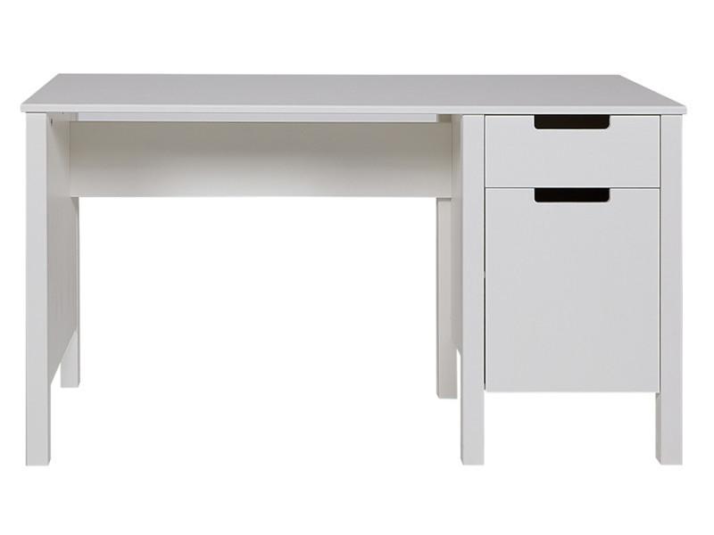 bureau en pin blanc brosse h 75 x l 140 x p 60 cm pegane