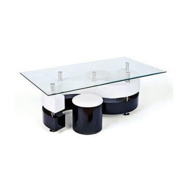 table basse s avec 2 poufs laque noir