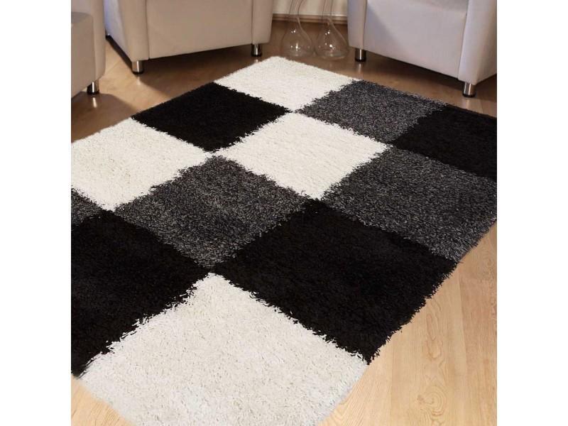 tapis salon longue meches doux et moelleux norlaze blanc noir gris 80 x 150 cm