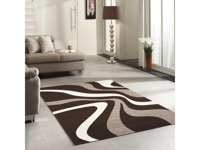tapis tendance pour la chambre nodage beige blanc marron fonce 80 x 150 cm