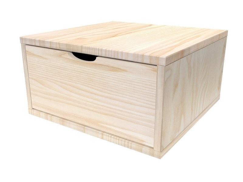 cube de rangement 50x50 cm tiroir bois brut