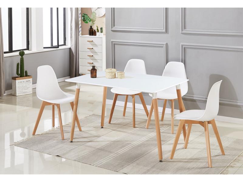 rico ensemble de salle a manger moderne table blanche 4 chaises blanches style scandinave