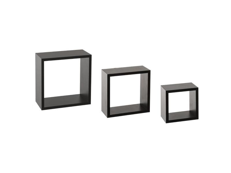 kit de 3 etageres murales cube noir