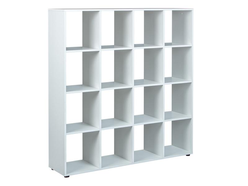 etagere de separation bibliotheque caboto 16 cases blanc
