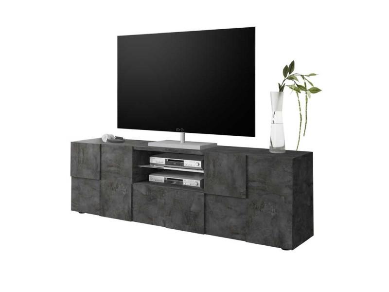 meuble tv 2 portes 1 tiroir beton cire fonce ticato l 181 x l 43 x h 57 neuf