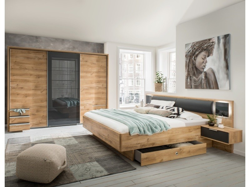 ensemble chambre adulte imitation chene poutre 180 x 200 cm pegane