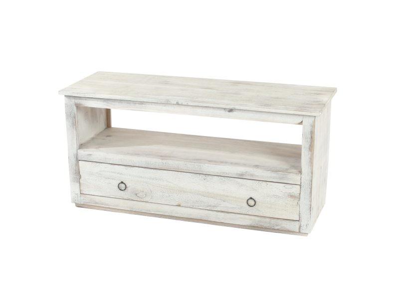 table basse de salon meuble bas commode 1 tiroir shabby chic vintage blanc