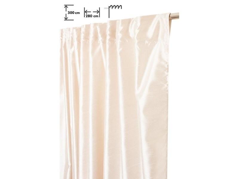 rideau tamisant 280 x 300 cm a galon fronceur pattes cachees grande largeur grande hauteur effet soie satine uni ecru