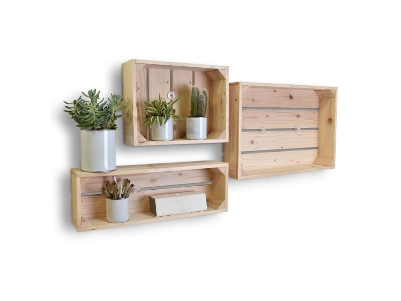 lot de 3 etageres en bois profondeur 10 cm