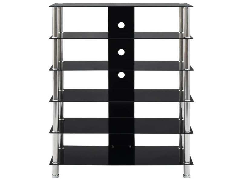 icaverne meubles tv serie support hifi noir 90 x 40 x 113 cm verre trempe