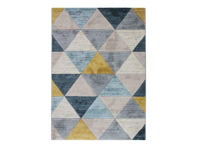 fjord tapis aspect laineux motif triangles bleu et jaune 120x170
