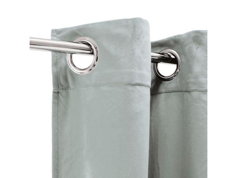 rideau double rideaux rideau velours 100 polyester gris clair 140x250 cm