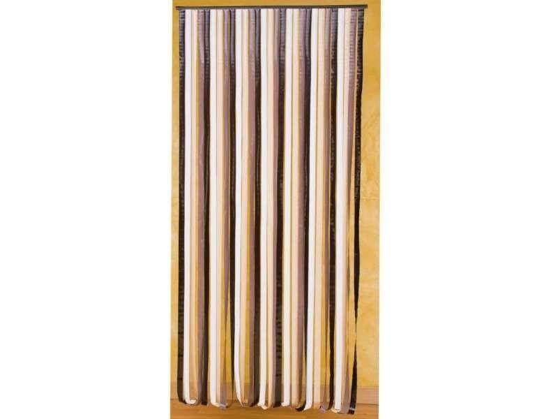 rideau de porte lanieres plastique marron beige