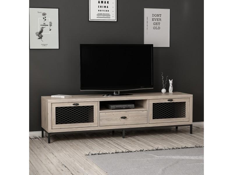 homemania meuble tv zeus moderne avec portes etageres tiroir pour salon noir en bois 180 x 35 x 49 cm
