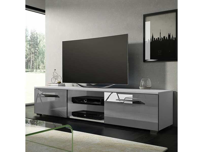 meuble tv banc tv tenus 140 cm blanc mat gris brillant sans led