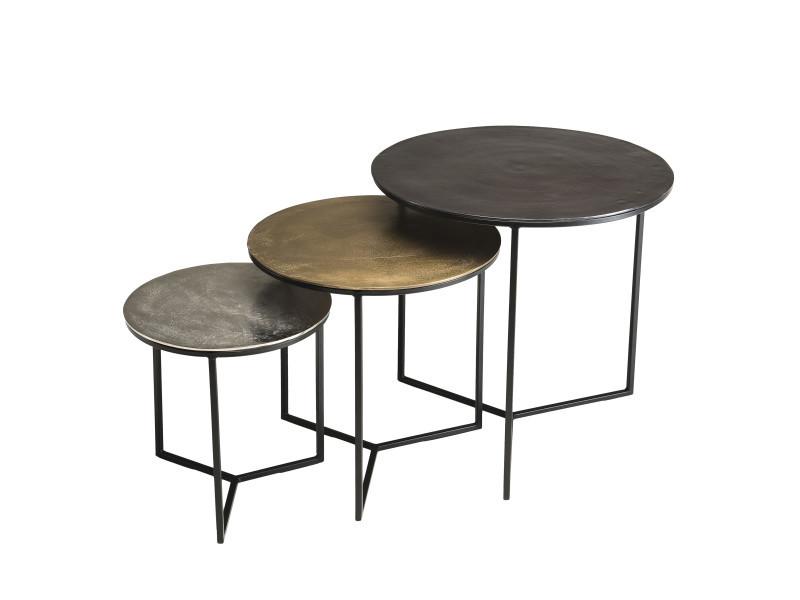 3 tables gigognes rondes aluminium noir