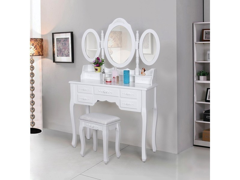 superbe coiffeuse blanche avec tabouret 7 tiroirs et 3 miroirs rabattables neuf