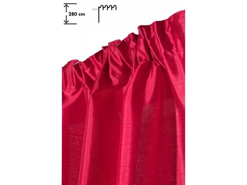rideau 140 x 280 cm a galon fronceur grande hauteur brillant effet soie rouge