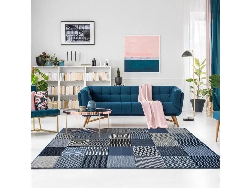 tapis design et moderne 120x170 cm rectangulaire bc geotrem bleu salon adapte au chauffage par le sol