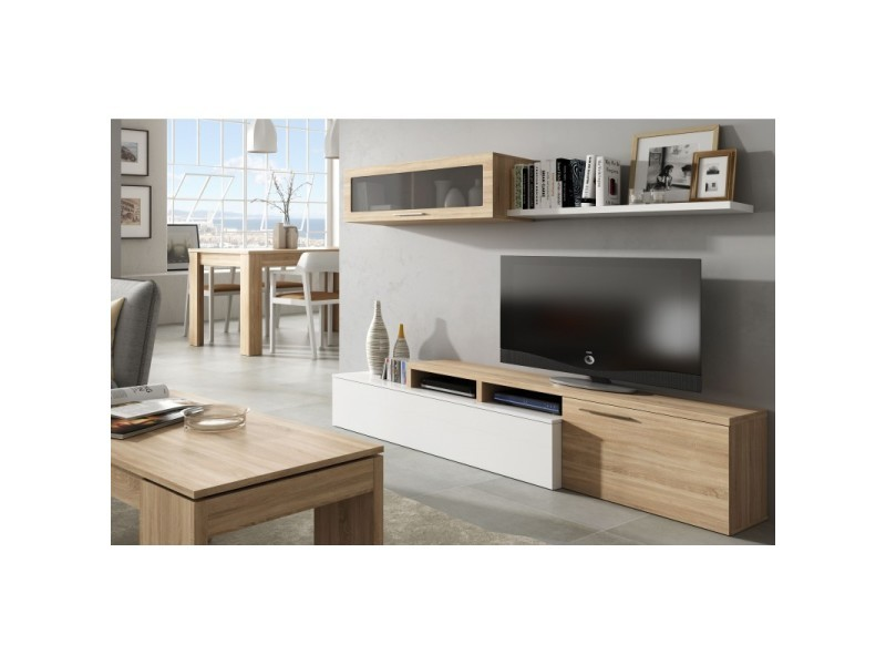 ensemble meubles de salon moderne couleur blanc et chene canadien