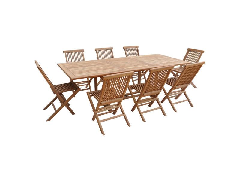 salon de jardin en teck lombok table rectangulaire extensible 8 places