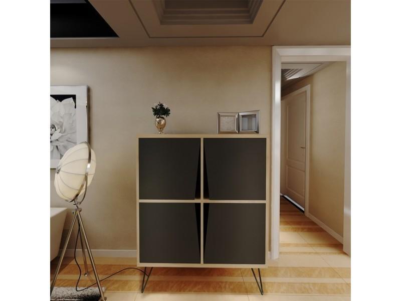 homemania meuble de rangement multi usages momentum avec portes etageres pour salon entree chene noir en bois 90 x 30 x 110 cm