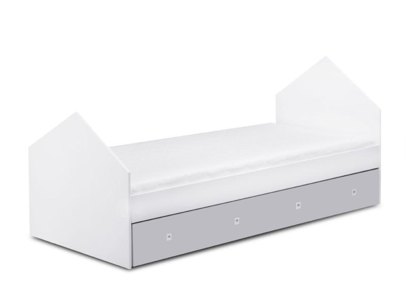 mirum cadre de lit enfant tiroir lit double coffre de rangement 207x99 6x93 4 cm structure lit avec tiroir design unique blanc gris
