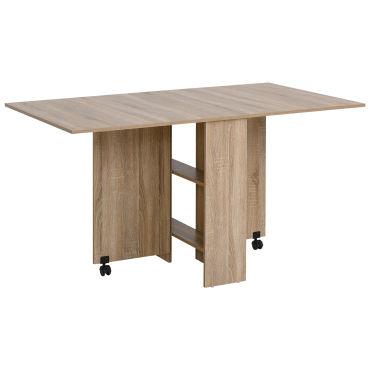 table pliante de cuisine salle a manger amovible sur roulettes 140l x 80l x 74h cm 2 etageres integrees panneaux particules coloris chene