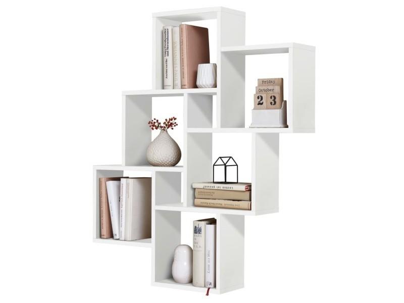fmd etagere murale avec 8 compartiments blanc