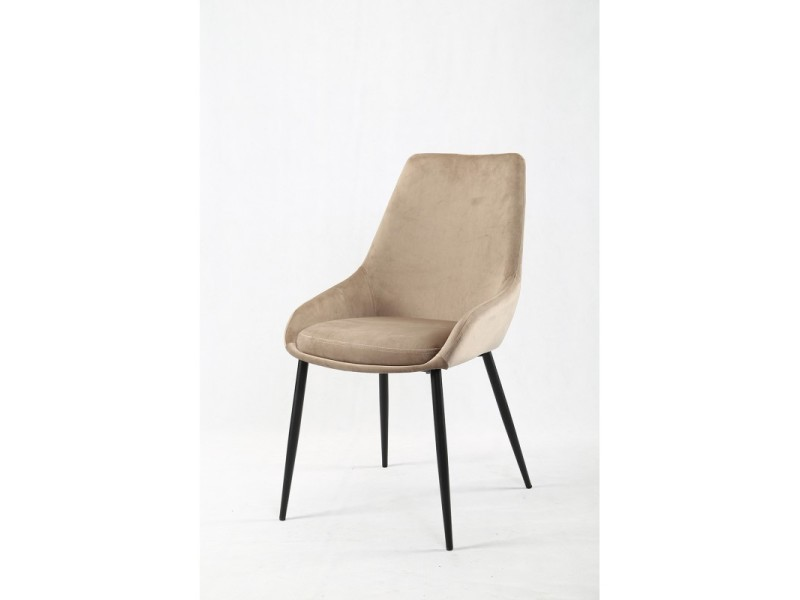 lot de 2 chaises tissu velours beige
