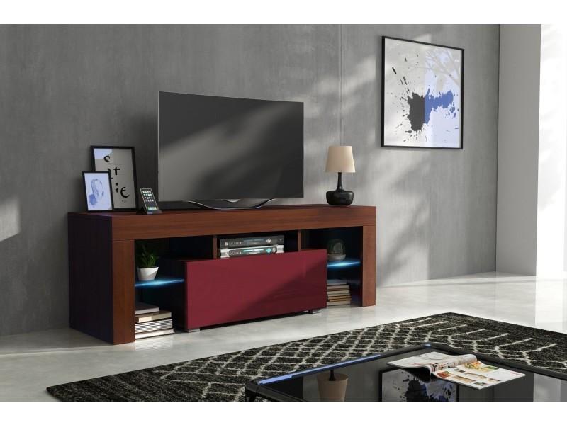 meuble tv 130 cm corps noyer mat et porte laquee bordeaux avec led rgb