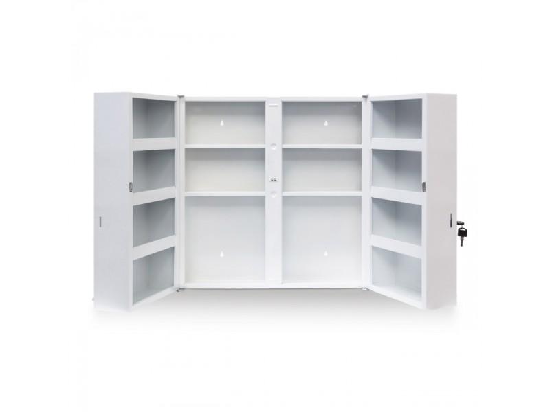 armoire mdicaments pharmacie acier et verre avec deux cls x cm helloshop conforama with armoire pharmacie