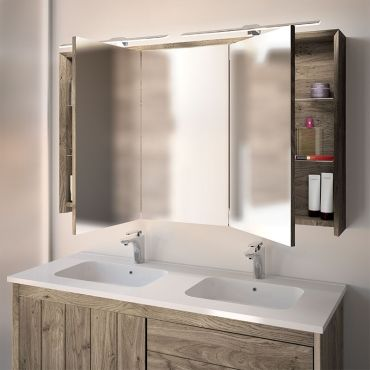Armoire De Toilette Suspendue 120 Cm Chene Grise Refugia Vente De Wilson Conforama