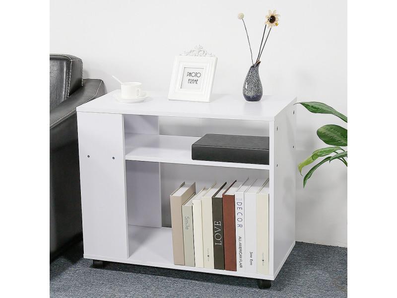 hombuy meuble de rangement bout de canape pour salle a manger salon couloir chambre avec roulettes en couleur blanc