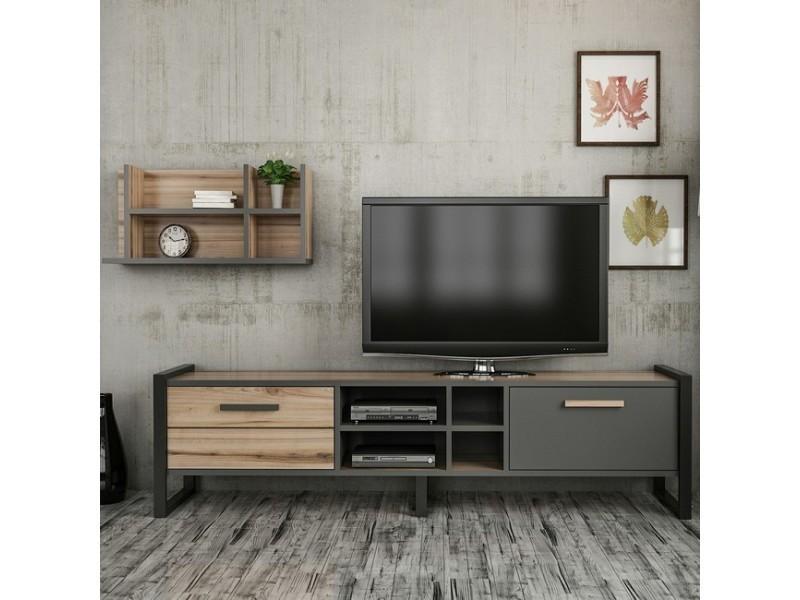 homemania meuble tv leno moderne avec portes etageres pour salon noyer anthracite en bois metal 184 x 39 x 45 cm