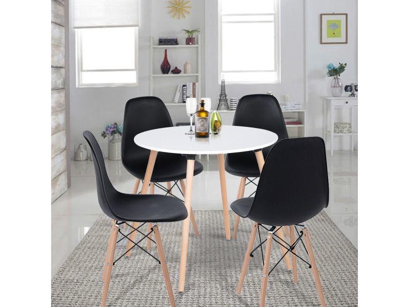 ensemble table a manger ronde et lot de 4 chaises scandinave blanche noir bois