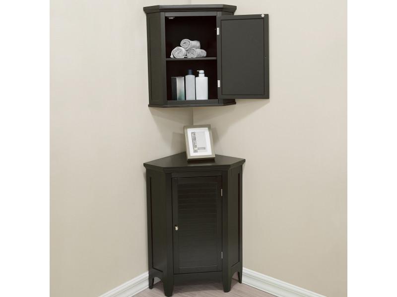 ensemble meubles d angle salle de bains 3 pieces placard mural meuble bas colonne de rangement marron fonce teamson home elg csetb