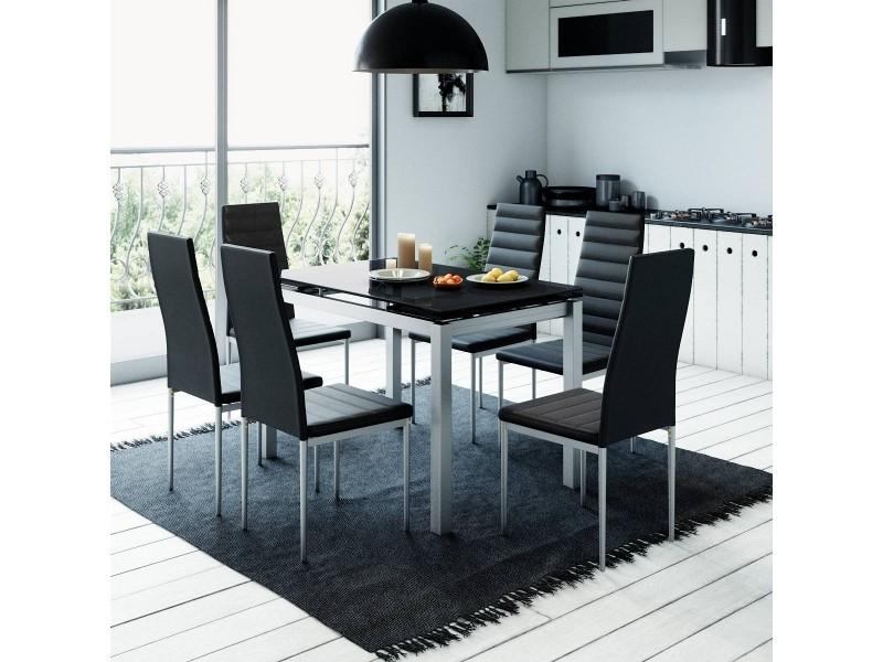 table a manger extensible 6 chaises noir gisborne