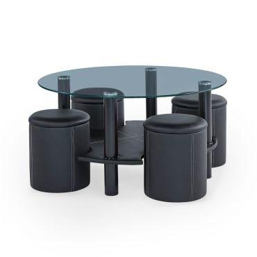 table basse ronde en verre et 4 poufs