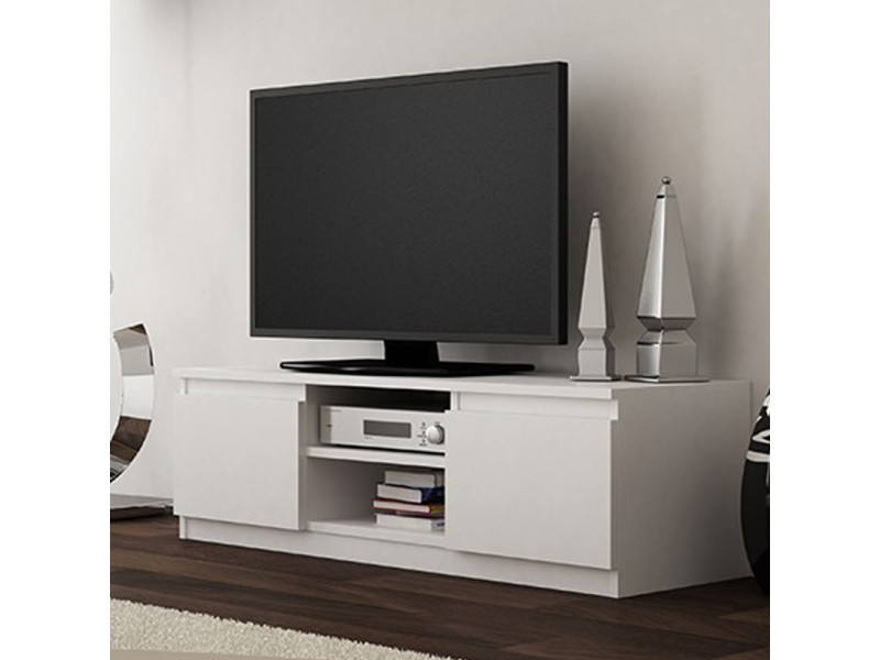 meuble tv banc tv clino 120 cm blanc style contemporain